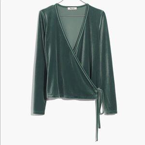 Madewell Velvet Ballet Wrap Emerald
